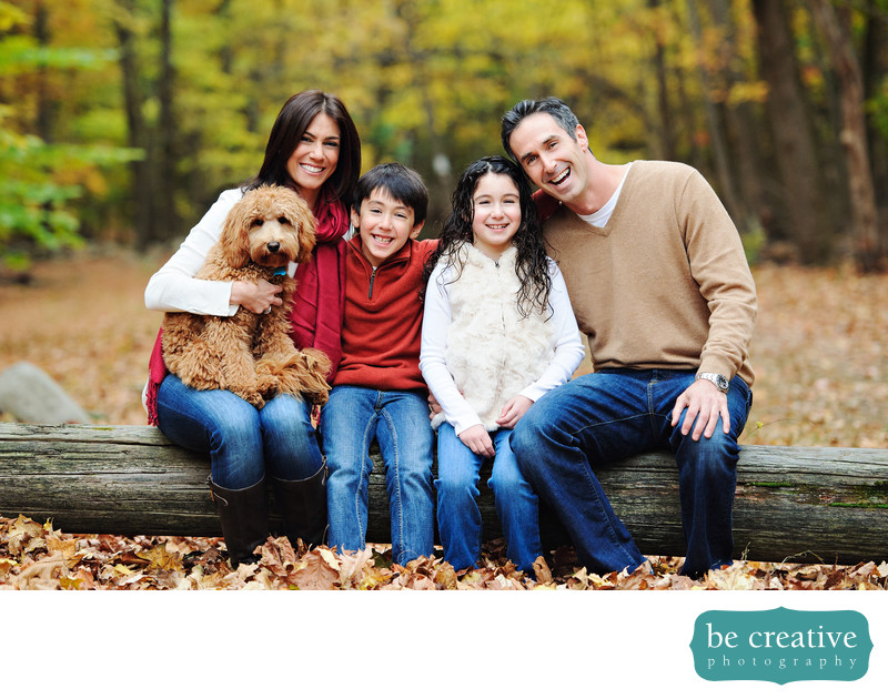 family fall portrait nj photographer dog smiles nature