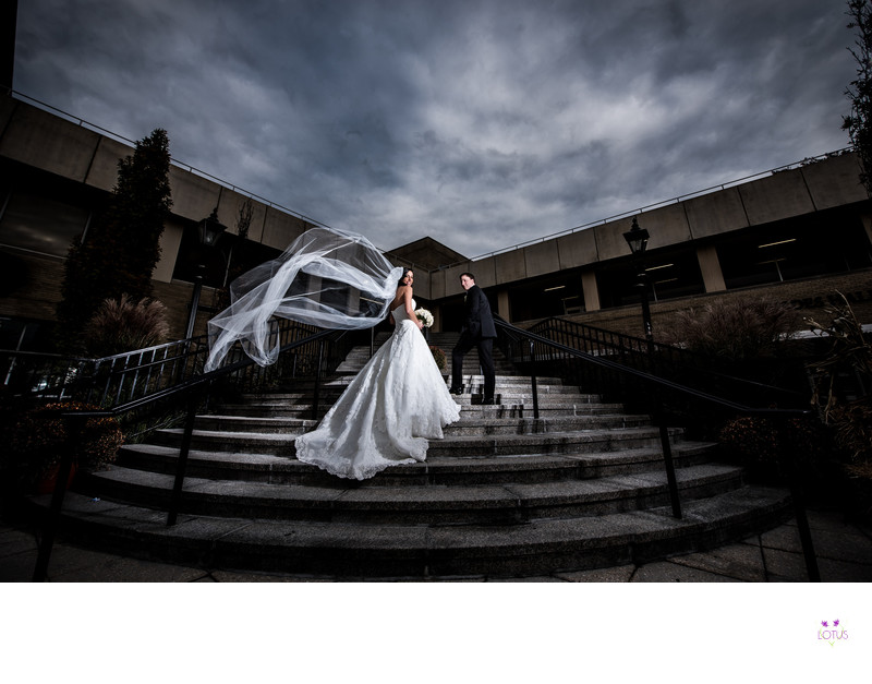 Dramatic Wedding Photo at Saint Johns University