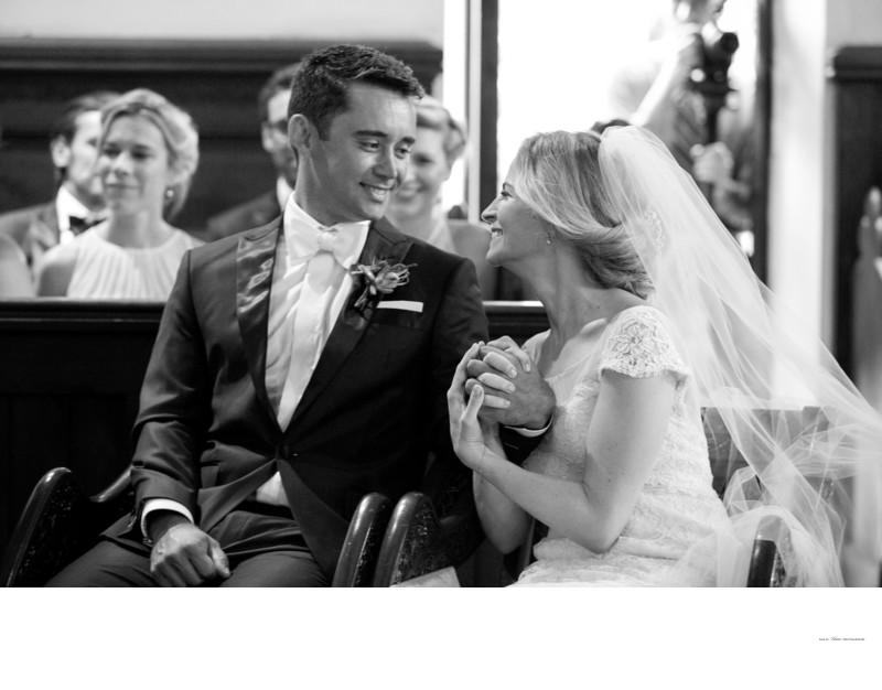 Romantic black and white intimate wedding ceremony