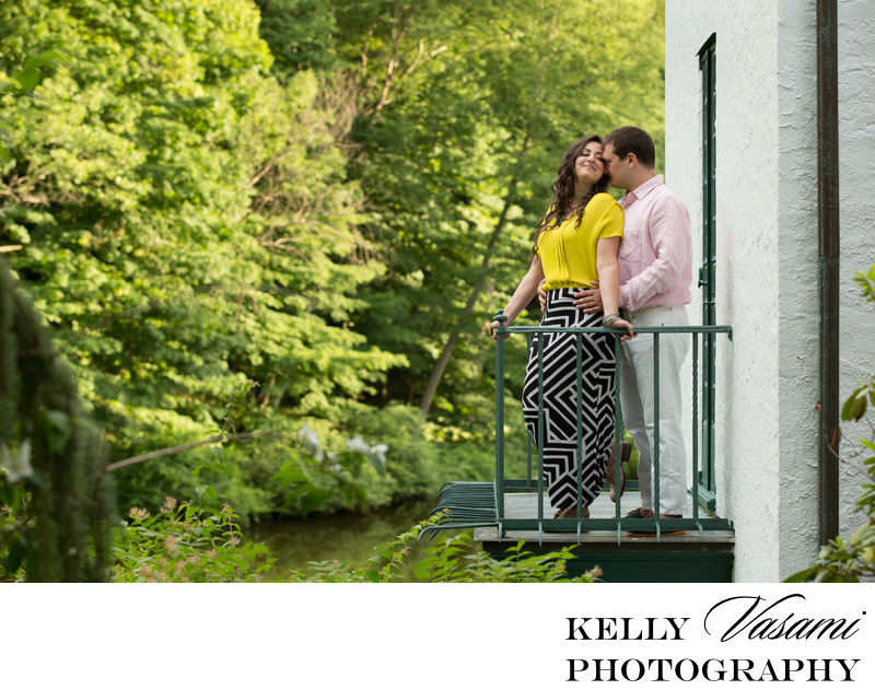 Dramatic Engagement Session on a Balcony