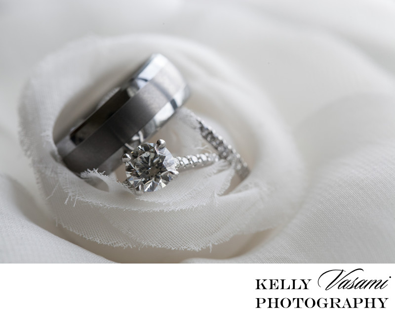 platinum wedding ring photos and fabric flower