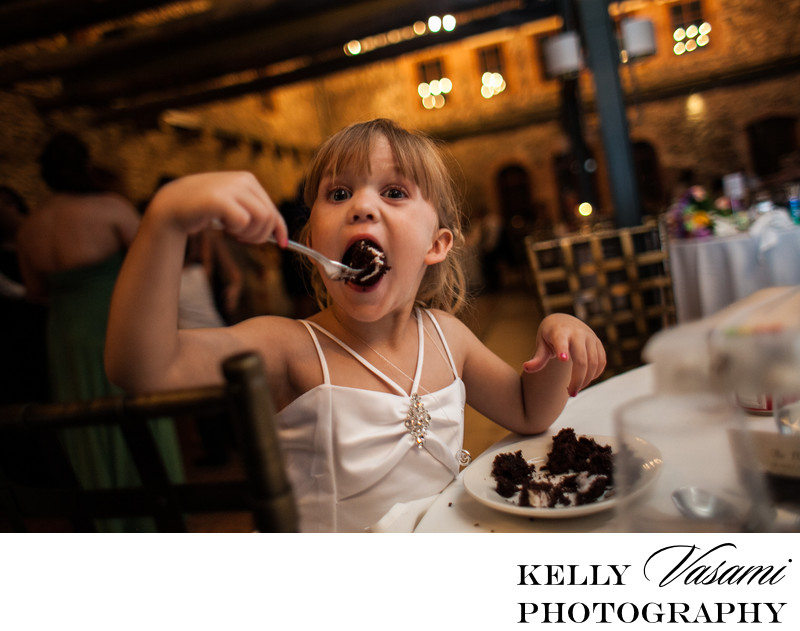 Funny Kids Photo at Wedding | Flower Girl Eating Cake