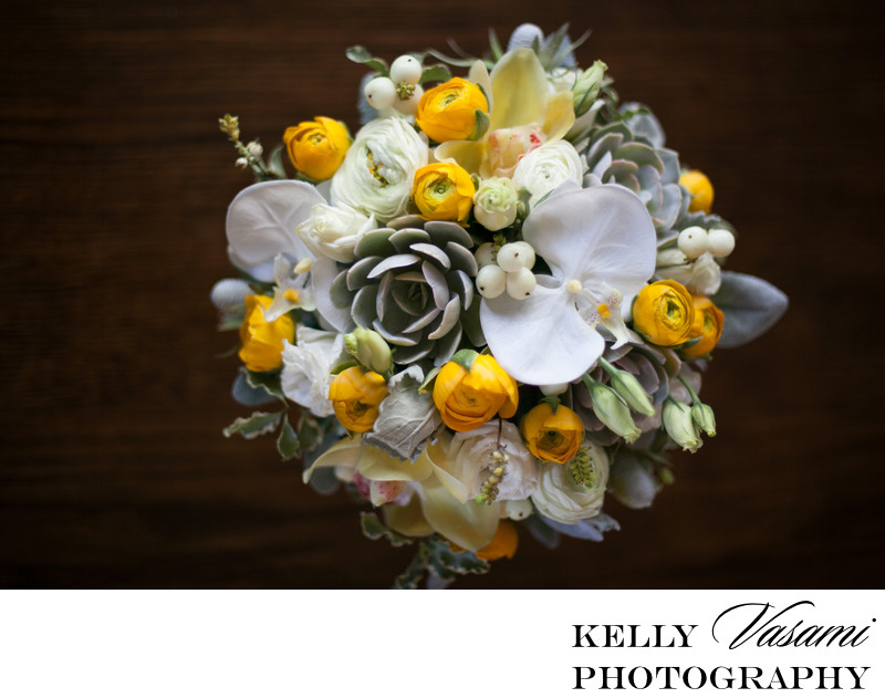 Orchids, Succulents, Ranunculus | Yellow Bouquet
