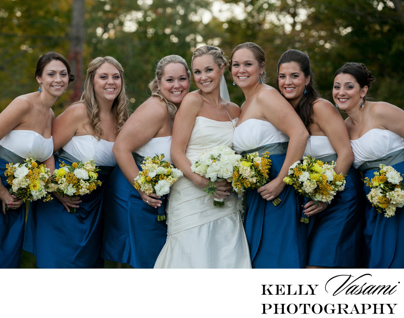 blue and white bridesmaid gowns westchester