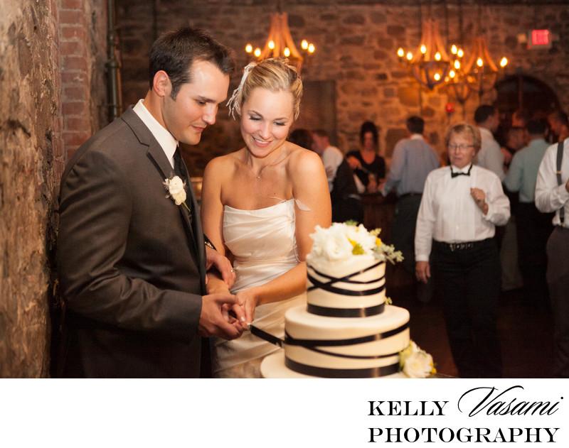 Bride & Groom Cut The Cake | Brotherhood Winery Wedding