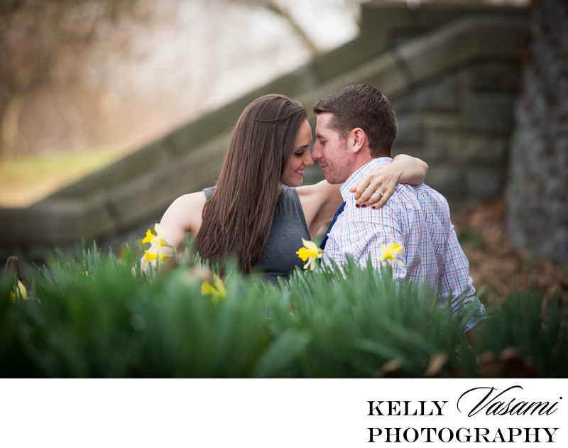 Couple Sitting Among Daffodils | Engagement Session
