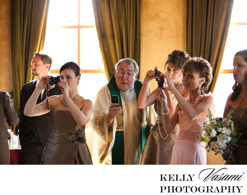 funny wedding photos priest taking photo harvest hudson