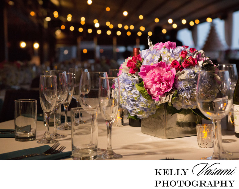 new york city wedding centerpiece peonies hydrangea