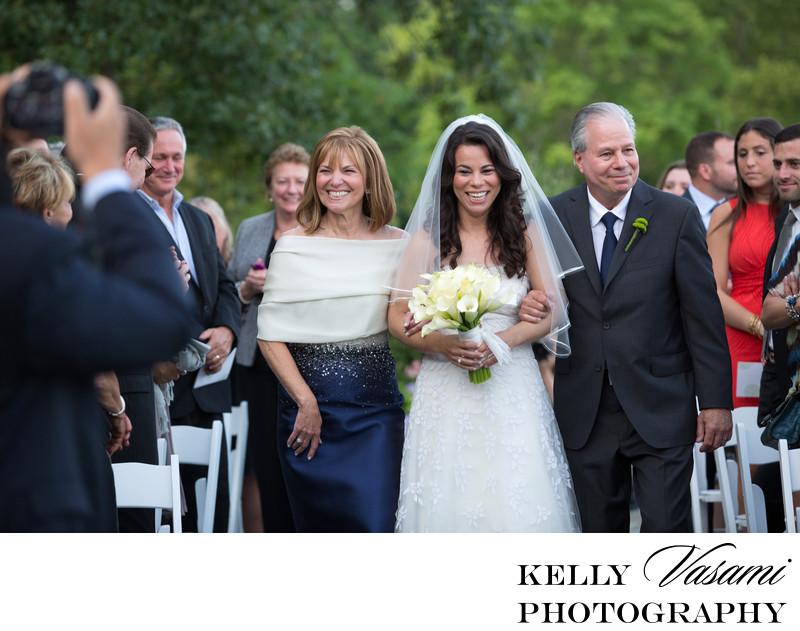 bride escorted up aisle by parents mamaroneck wedding