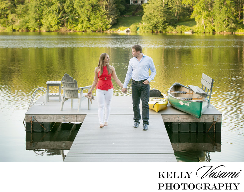 Westchester Lakeside engagement photos on a dock