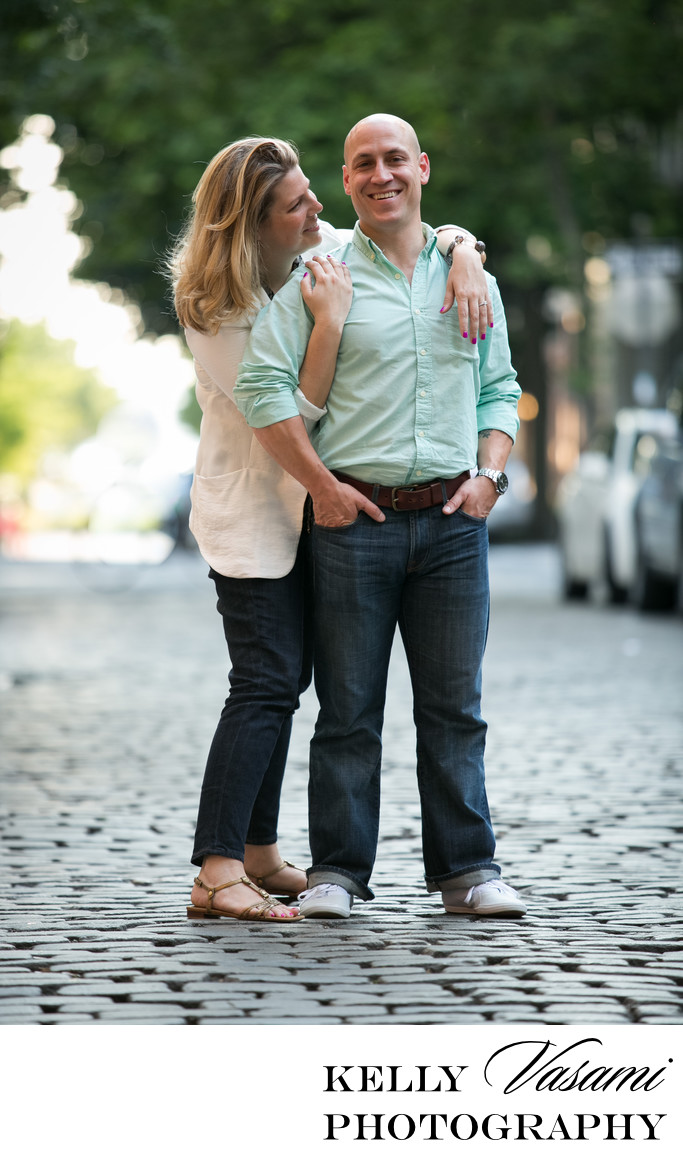 Cobblestone Street NYC | Manhattan Engagement Session