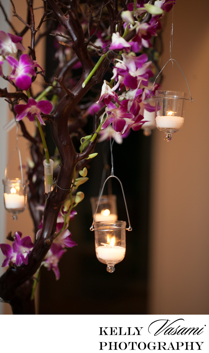 purple orchid candlelight tealight wedding centerpiece