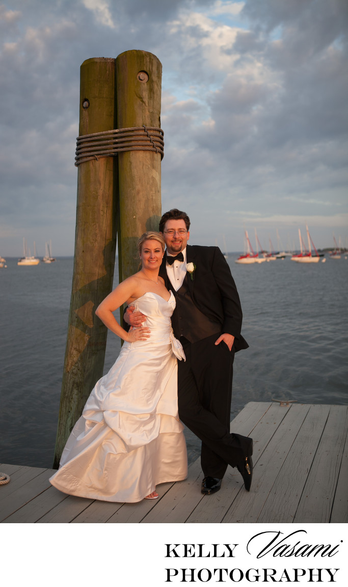 Indian Harbor Yacht Club | Bride & Groom Dockside
