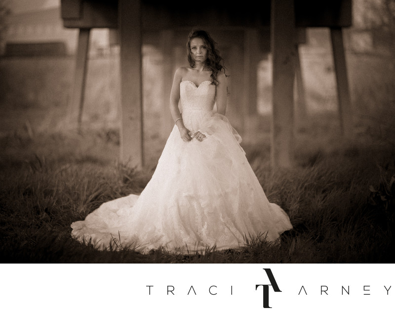 Fine Art Bridal Portrait Bride Under Bridge Danville, VA