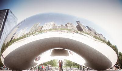 Chicago Cloud Gate Millennium Park Engagement Session