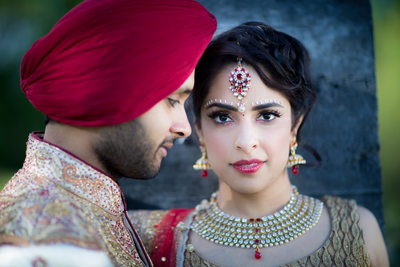Indian Bride & Groom Romance Session Portrait, Raleigh