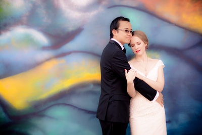 Bride & Groom Day After Session Against Graffiti, Raleigh, NC