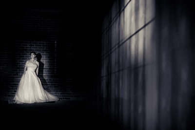 Dramatic B&W Bridal Portrait, Warehouse, Kernersville, NC