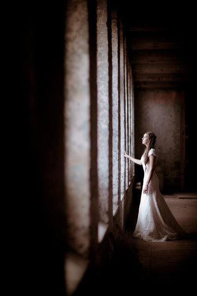 Danville, VA Columns, Warehouse Bridal Session