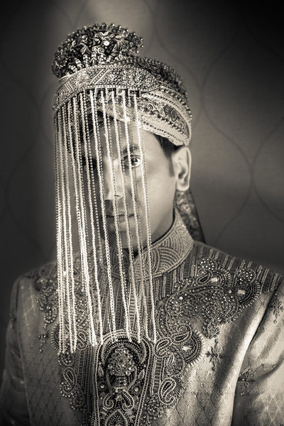 Dramatic Indian Groom Portrait w/ Sehra, Hunstville, AL