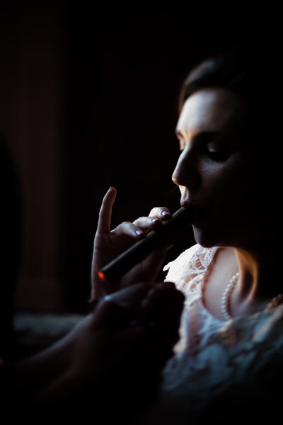 Bride Smoking Cigar, Adaumont Farm, Trinity, NC