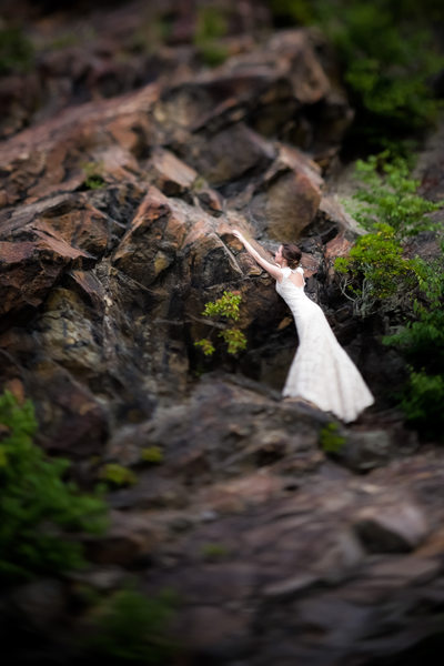Barefoot Bride Climbs Side of Blue Ridge Mountains, NC