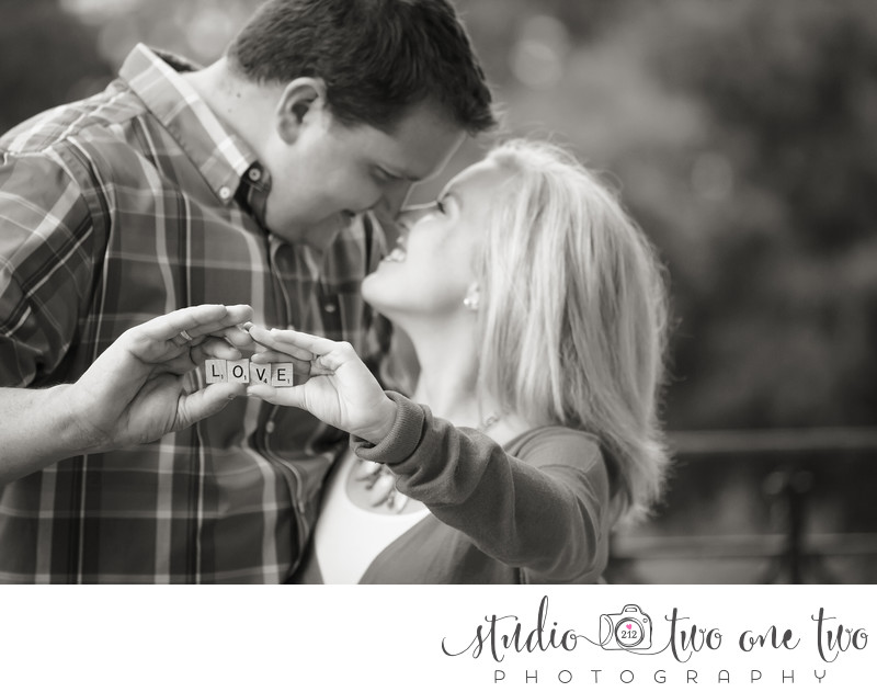Engagement Photo with Scrabble letters LOVE