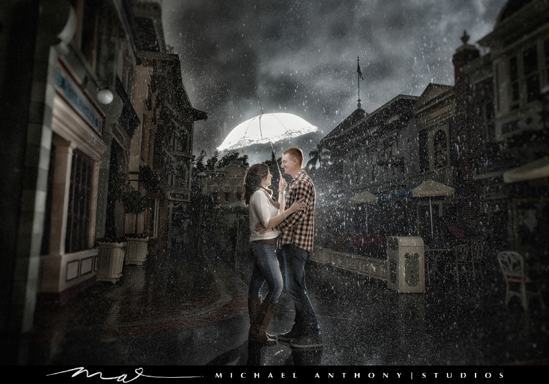 Engagement Photos at Disneyland in the Rain
