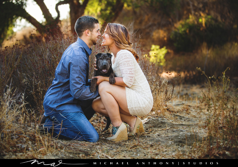 Engagement Session with Dog in Los Angeles