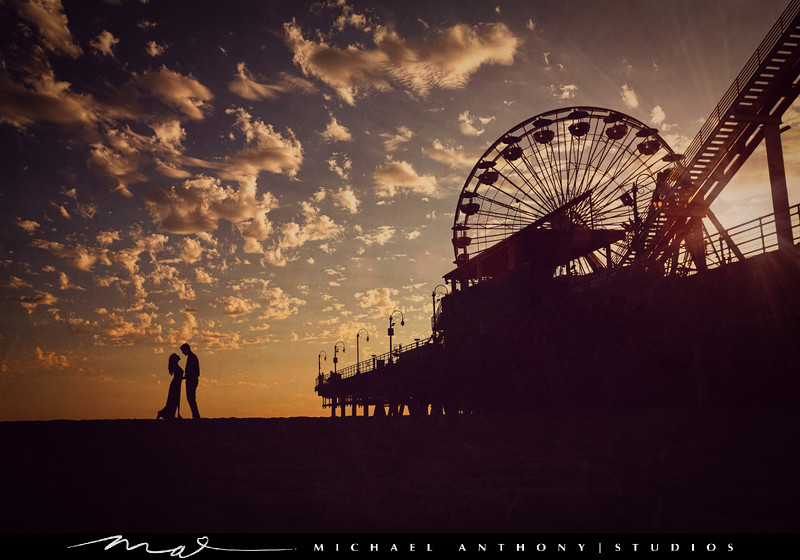 A Silhouette Photograph from a Santa Monica Engagement