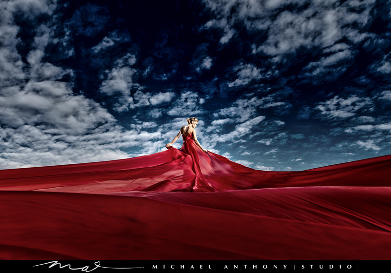 A Los Angeles Fashion Bridal Shoot with a red Wedding Dress