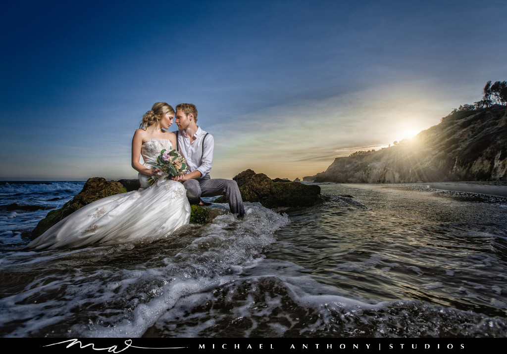 A Los Angeles Beach Wedding With A Trash The Dress Shoot