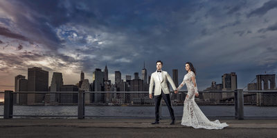 Manhattan Skyline Wedding Photo