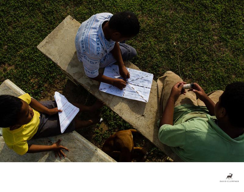Boys Make Homemade Kites in Tonga
