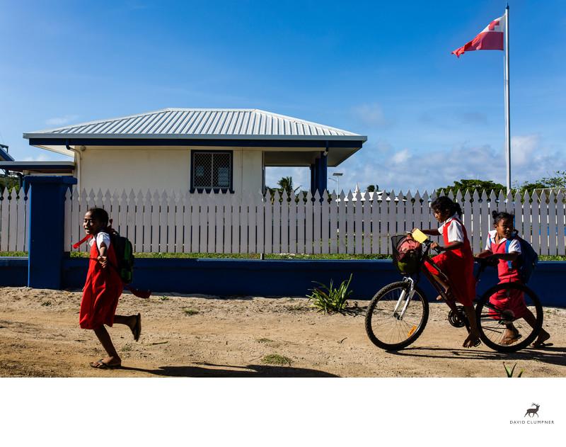 Girls Run Home from School in Kingdom of Tonga