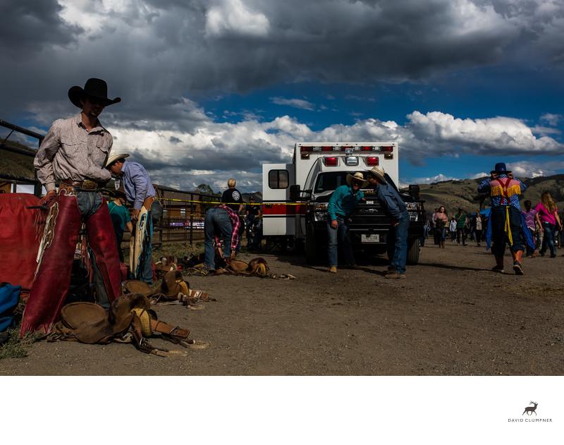 Bull Rider Gets Ready at Gardiner Rodeo