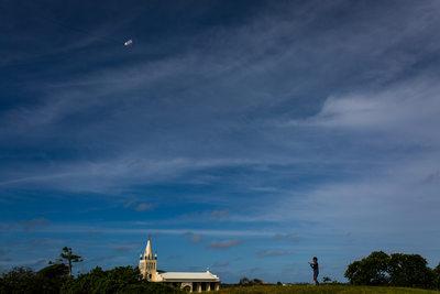 Boy Flying Kite in Kingdom of Tonga