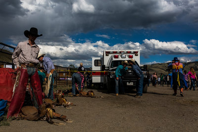 Bull Rider Gets Ready at Gardiner Rodeo