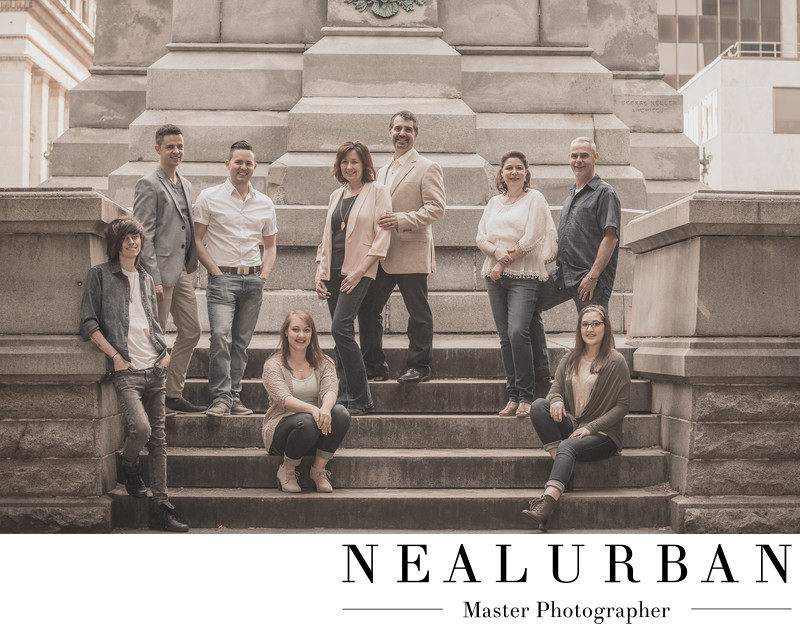 buffalo family photographers at lafayette square posed on the stairs