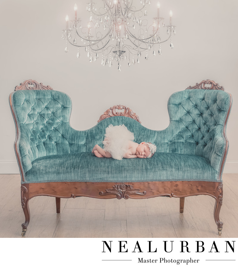buffalo baby photography of newborn in vintage furniture