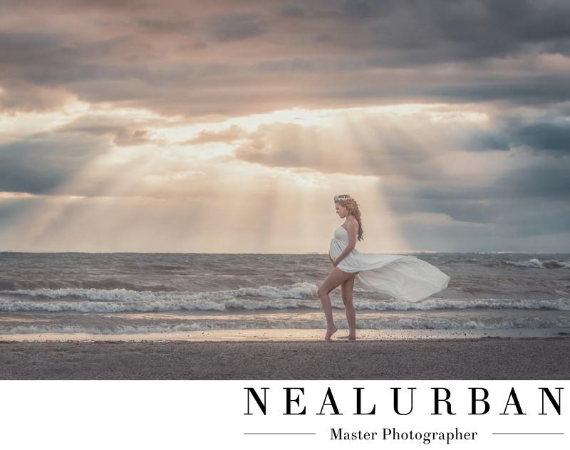 best buffalo maternity photographers woodlawn beach at sunset