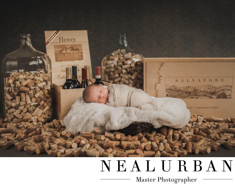 best newborn baby photographer in buffalo ny wine theme
