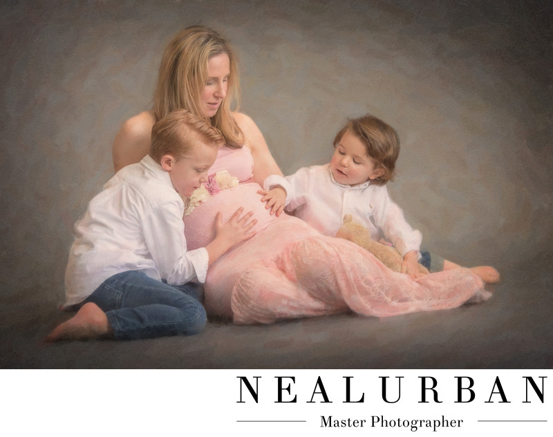 buffalo maternity session photography mother and two sons