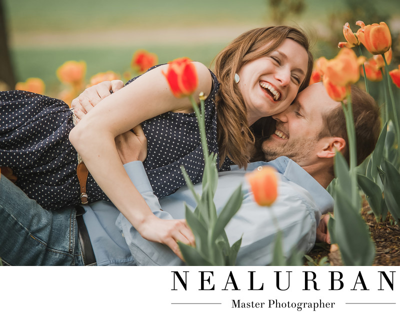 Buffalo spring engagement session with flowers tulips