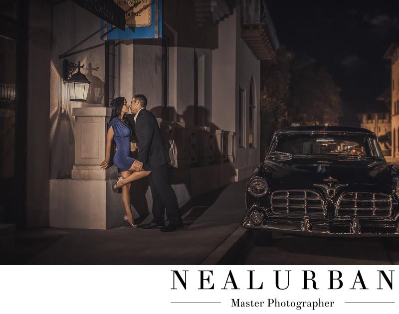st augustine engagement wedding photographers vintage car