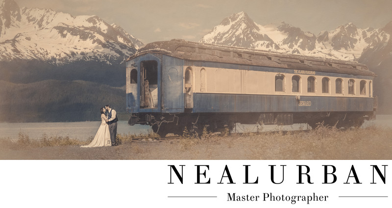 best destination alaska wedding photographers in seward with vintage train