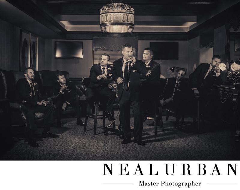 buffalo wedding statler lobby bar groom smoking cigars