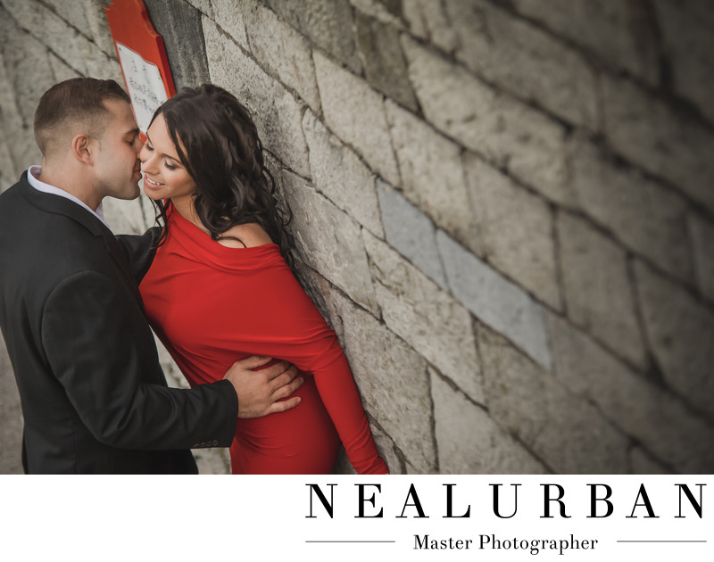 buffalo engagement outfits red dress and black suit