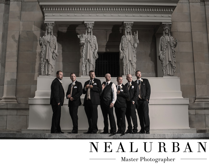 buffalo albright knox wedding groomsmen pose statues