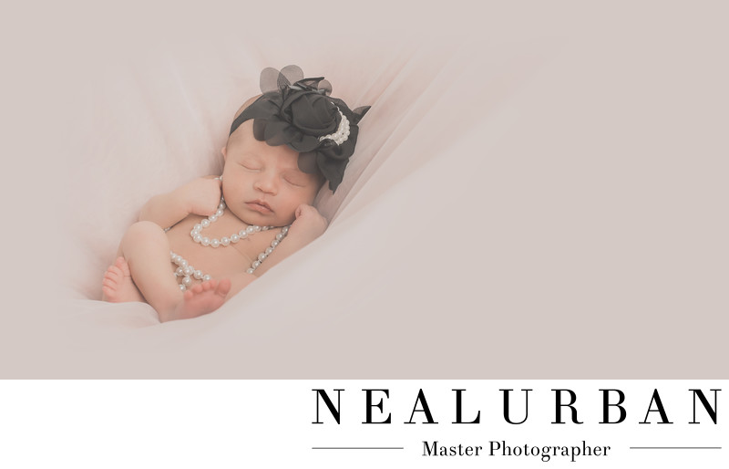 buffalo baby newborn photography pearls headband girl